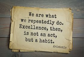 """We Are What We Repeatedly Do. Excellence is Not an Act, But a Habit"""