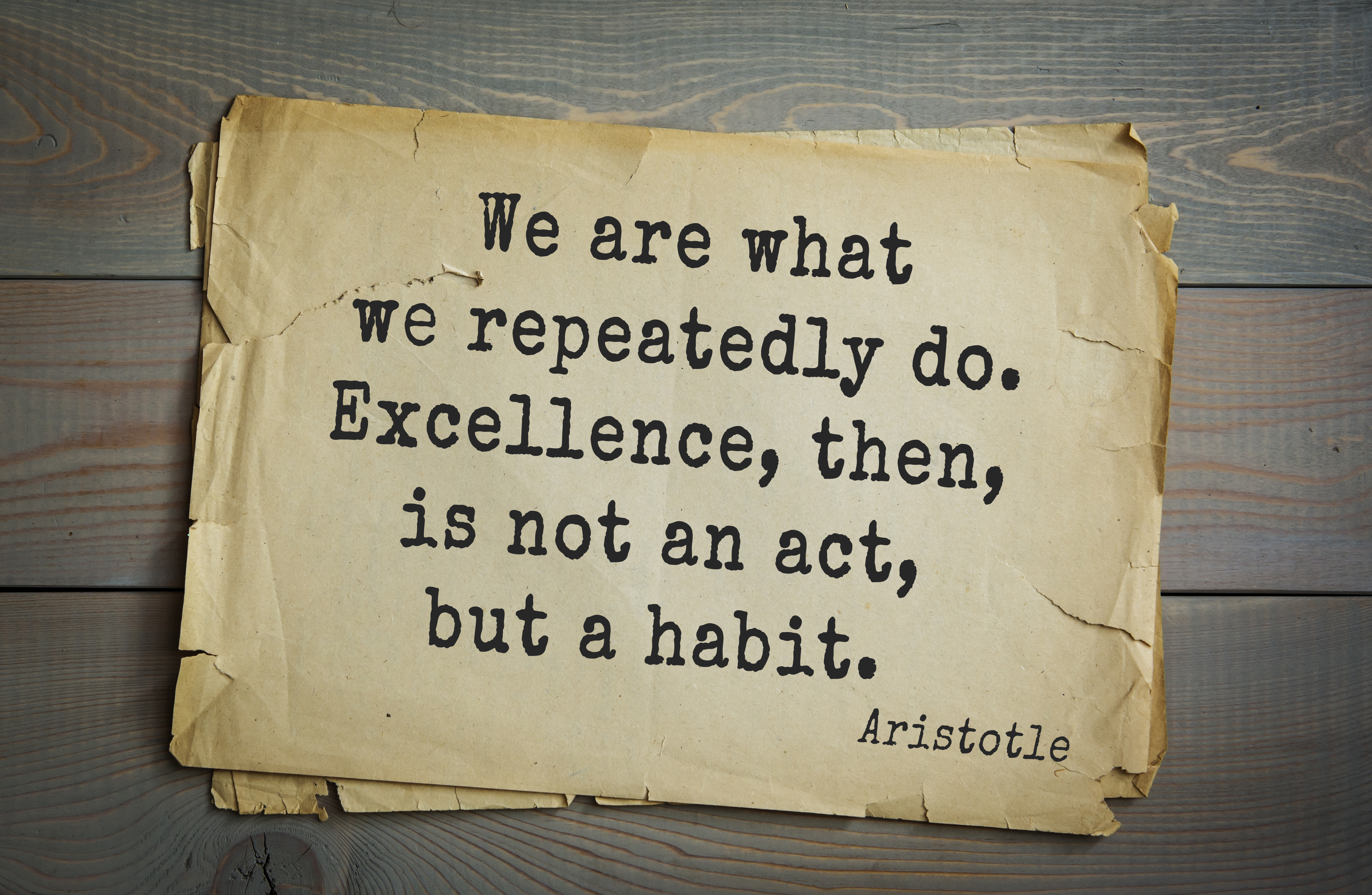 """""""We Are What We Repeatedly Do. Excellence Is Not An Act"""